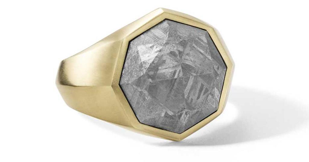 meteorite fragments jewellery gold ring unique
